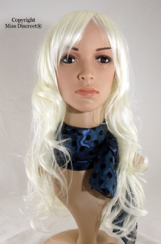 Long Length Bleach Platinum Blond Wavy Full Head Wig